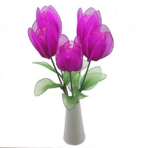 Mesh Nylon flower making kit, Magenta, 5 flowers, 4.5 [diameter of flowers], Tulip, [XS041]